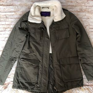 Madden Girl green fur lined jacket size sm